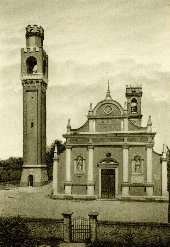 Foto Aurelio Foltran - Cartolina: la chiesa Parrocchiale di Barcon con nuovo campanile. 7-XI-1925