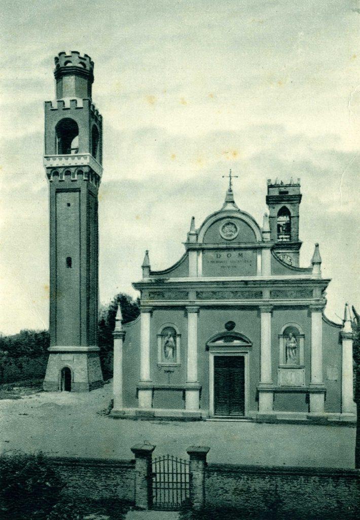 Foto Felice Trinca - Cartolina postale: Chiesa Parrocchiale di Barcon con nuovo campanile