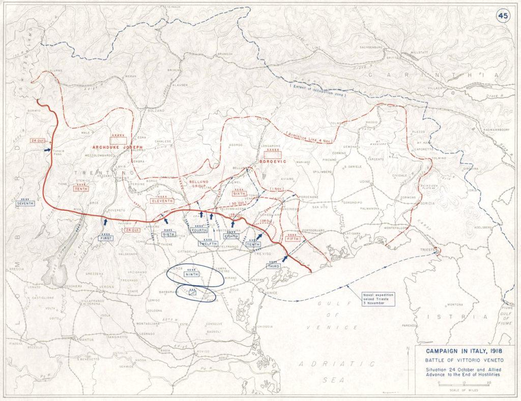 Campagna in Italia, 1918. La battaglia di Vittorio Veneto.